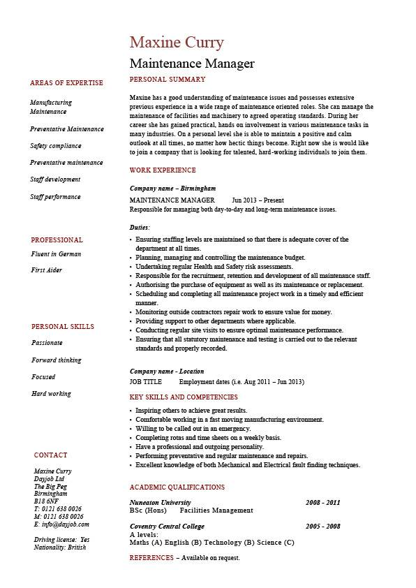 maintenance manager resume example job description samples repairs building work teams Resume Resume For Maintenance Position
