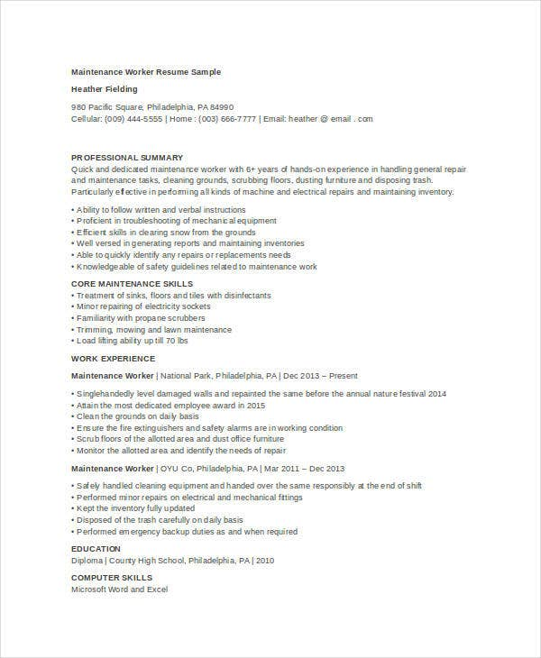 maintenance resume free word pdf documents premium templates for position worker extra Resume Resume For Maintenance Position