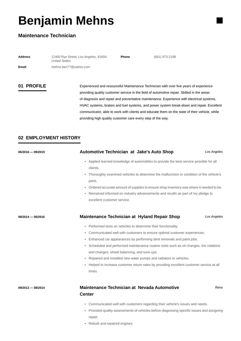 maintenance technician resume examples writing tips free guide io machine editable Resume Machine Maintenance Technician Resume