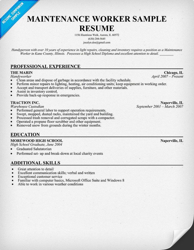 maintenance worker resume sample objective examples for position commerce lecturer Resume Resume For Maintenance Position