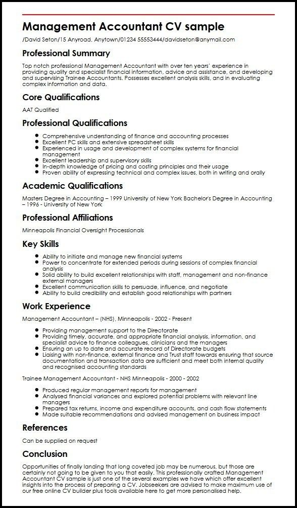 management accountant cv sample myperfectcv resume skills ability summary for whats title Resume Ability Summary For Resume