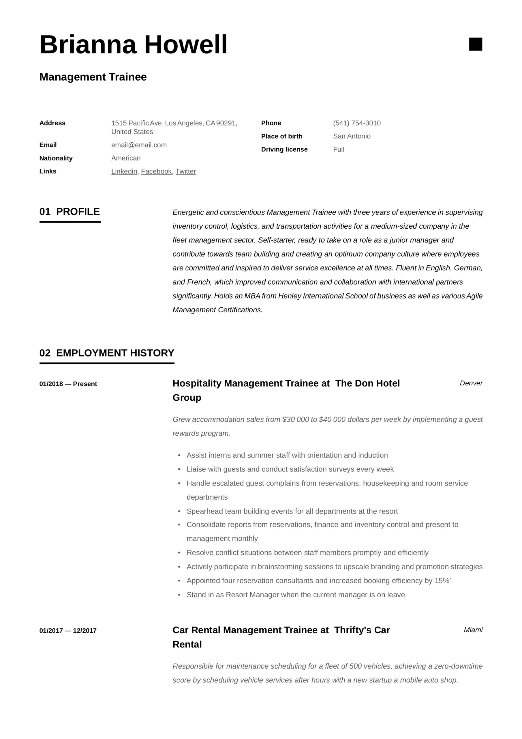 management resume writing guide examples format for trainee telecom business analyst Resume Resume Format For Management Trainee