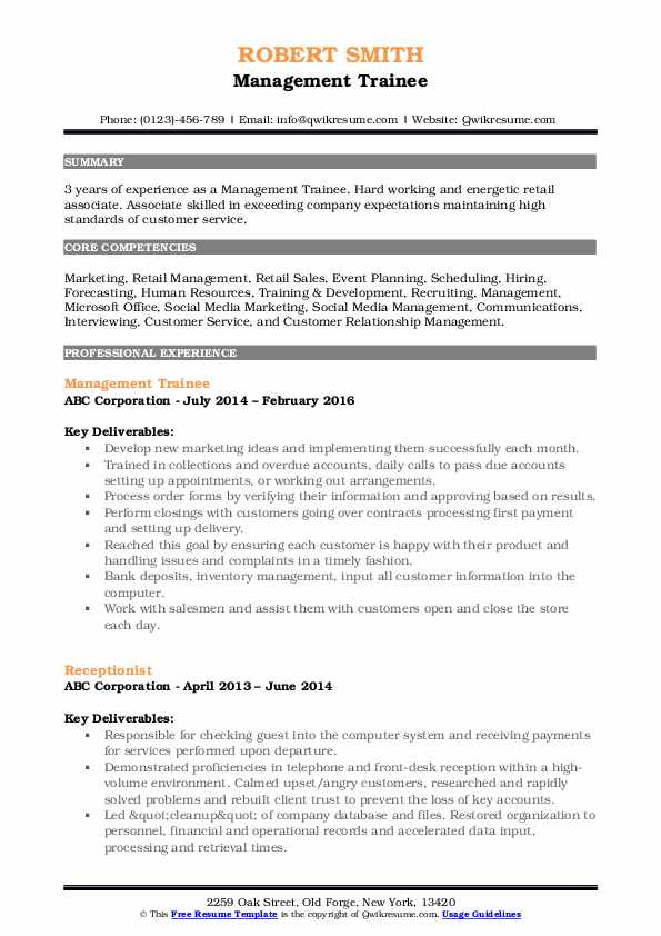 management trainee resume samples qwikresume format for pdf builder freshers telecom Resume Resume Format For Management Trainee
