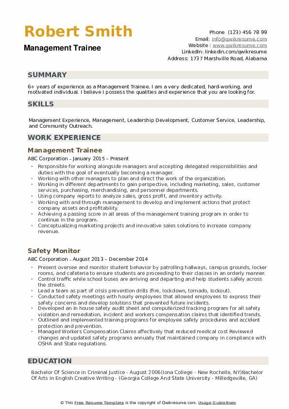 management trainee resume samples qwikresume format for pdf first teenager template Resume Resume Format For Management Trainee