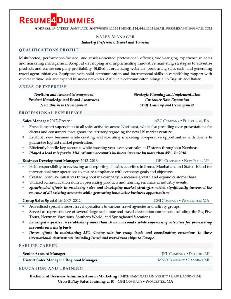 manager resume examples tips resume4dummies 791x1024 chiropractic assistant business Resume Sales Manager Resume Examples
