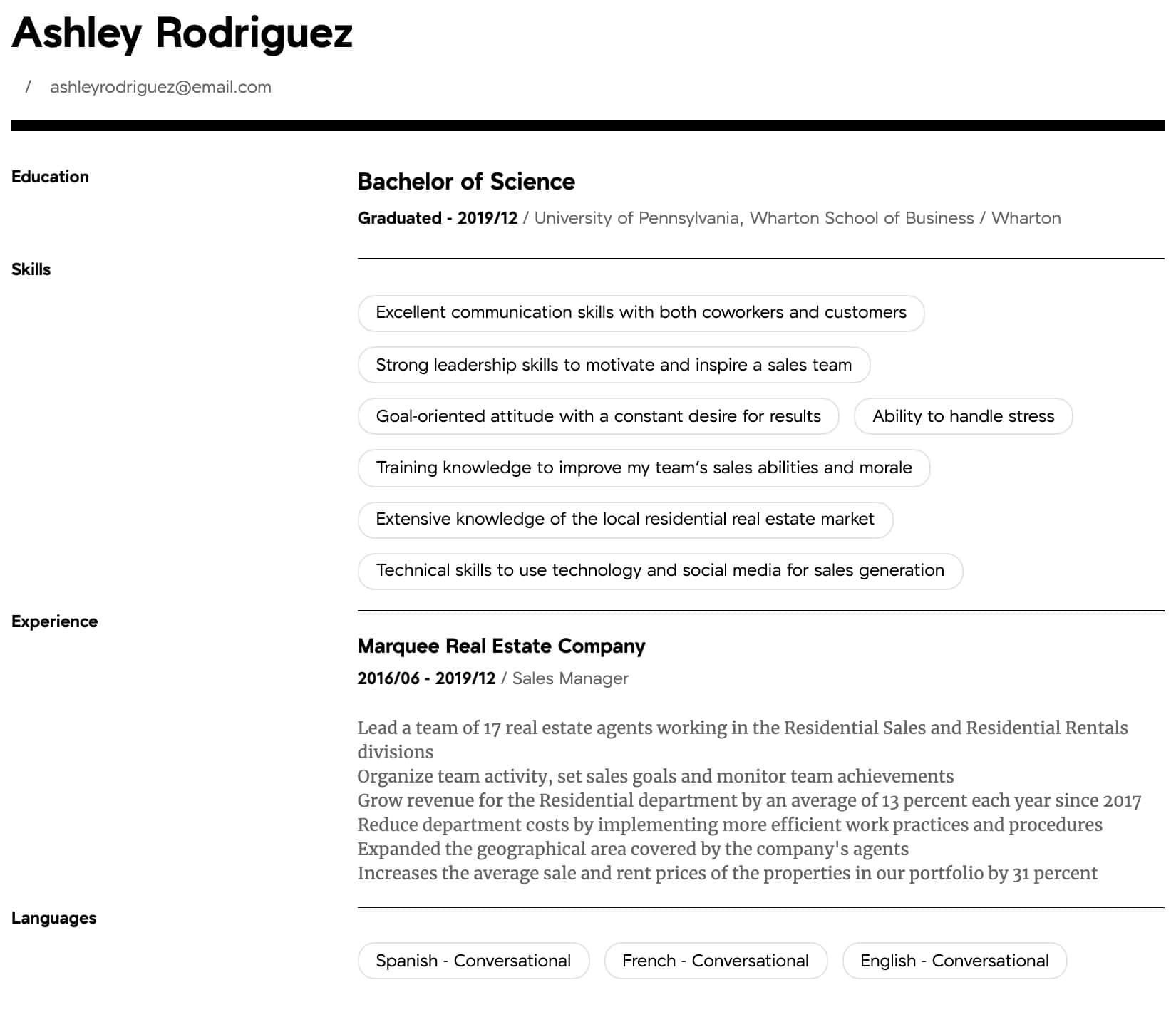 manager resume samples all experience levels examples intermediate good job objectives Resume Sales Manager Resume Examples