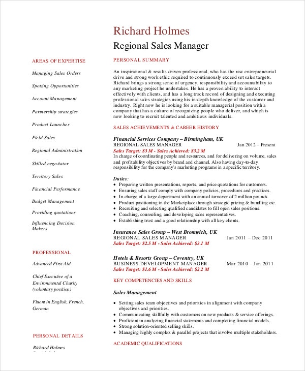 manager resume template free word pdf documents premium templates regional dance example Resume Regional Sales Manager Resume