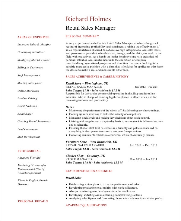 manager resume template free word pdf documents premium templates sample retail Resume Sales Manager Resume Sample