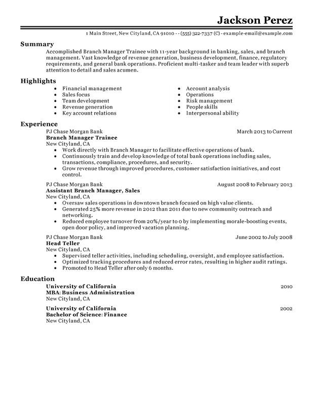 manager trainee resume examples free to try today myperfectresume format for management Resume Resume Format For Management Trainee