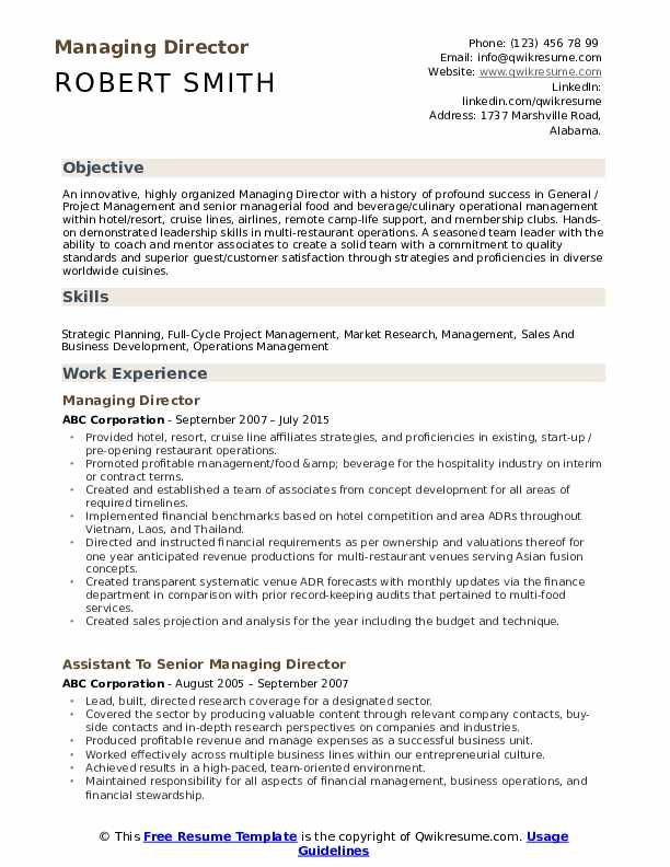 managing director resume samples qwikresume for position pdf excellent writing tips Resume Resume For Director Position