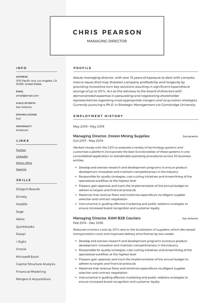 managing director resume writing guide examples pdf for position example latex template Resume Resume For Director Position