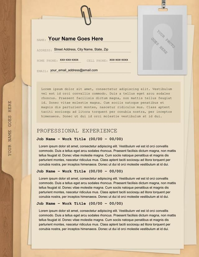 manila folder resume creative templates professional plumber template putting college on Resume Professional Resume Folder