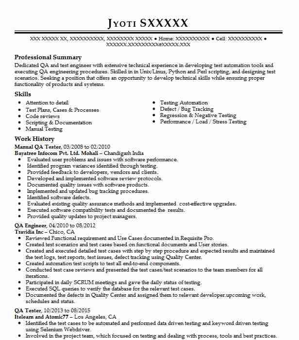 manual qa tester resume example technical resumes livecareer software testing samples for Resume Software Testing Resume Samples For 5 Years Experience