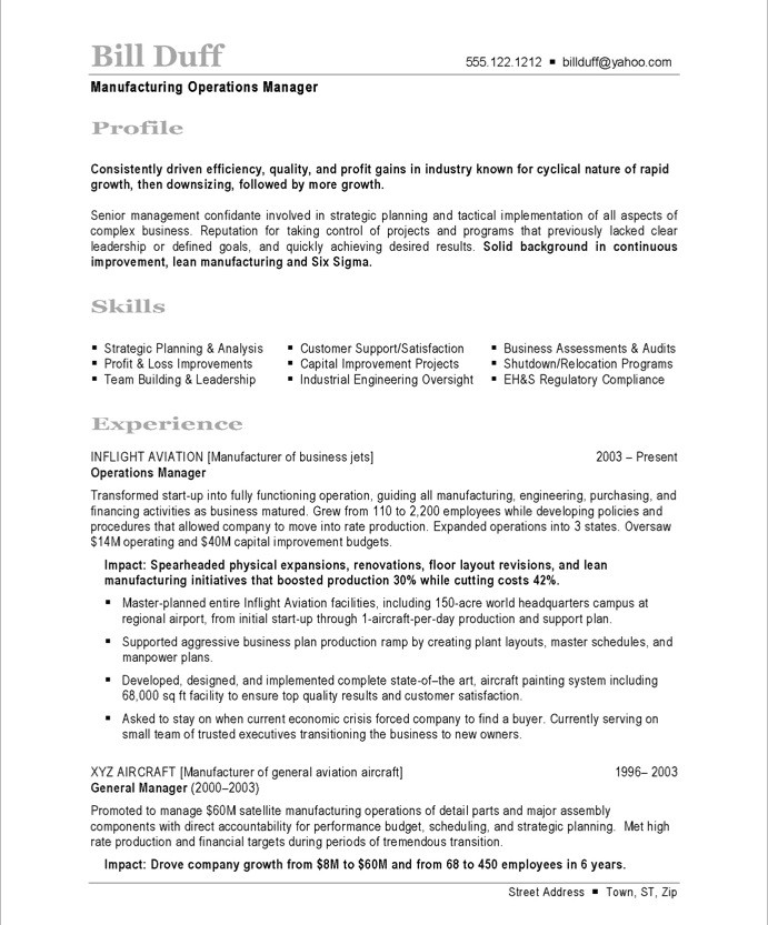 manufacturing resume samples format by chief financial officer project manager job Resume Manufacturing Resume Samples