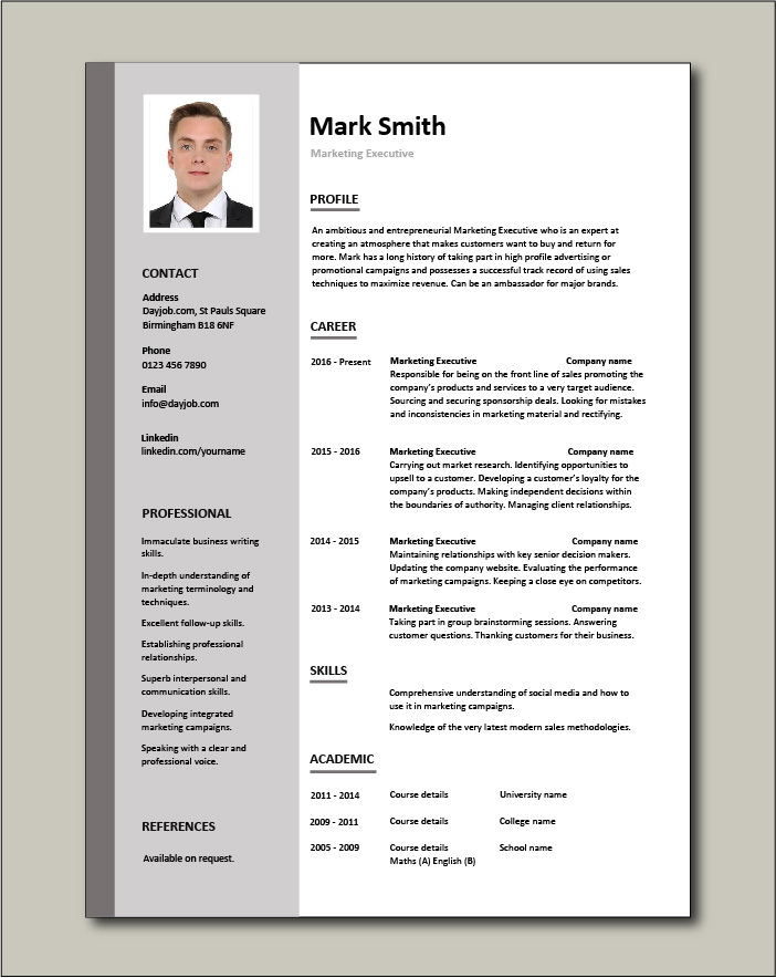 marketing executive resume example sample template promotions writing cv jobs management Resume Management Resume Templates Free
