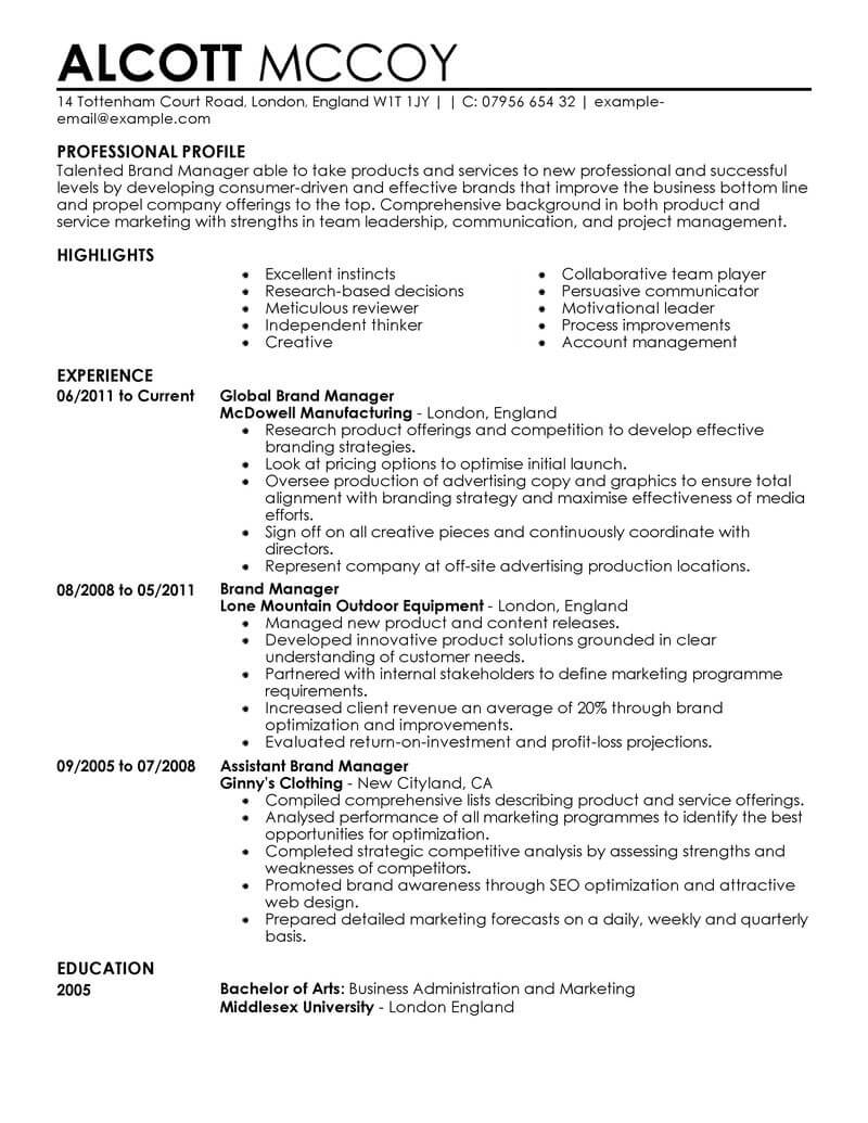 marketing resume examples example resumes livecareer for job brand manager contemporary Resume Resume For Marketing Job