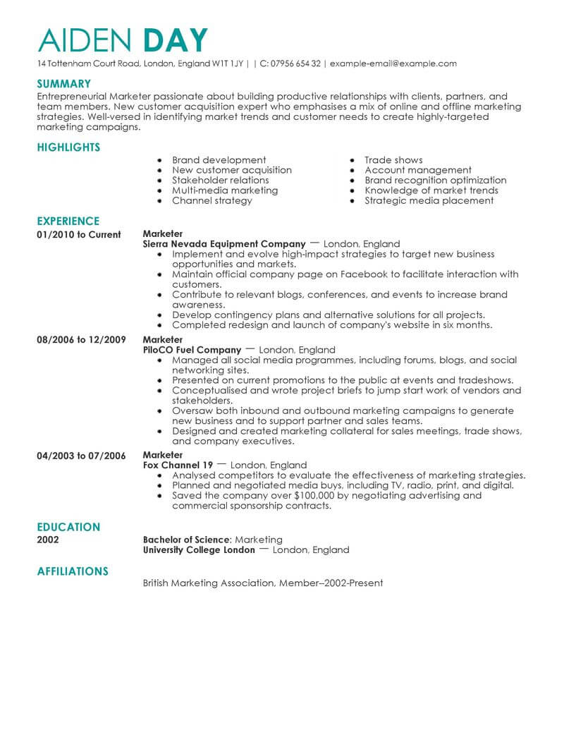 marketing resume examples example resumes livecareer for job contemporary simple template Resume Resume For Marketing Job