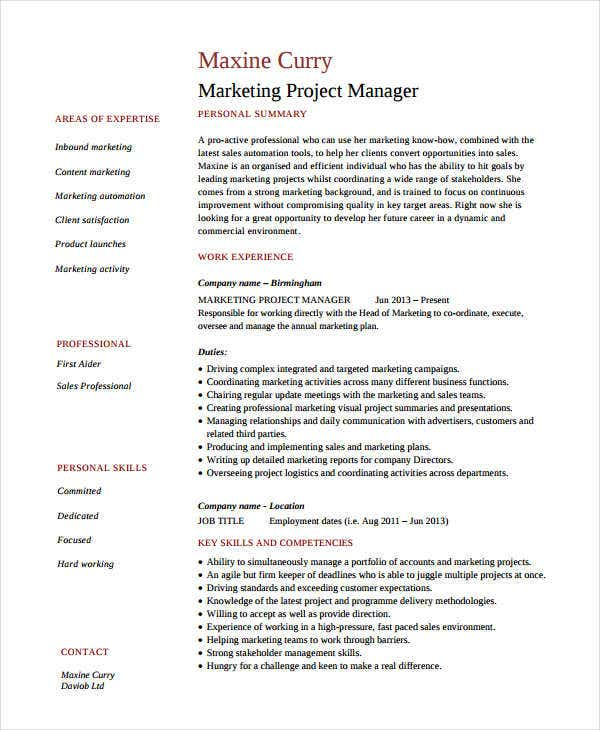 marketing resume examples free word pdf documents premium templates for job project Resume Resume For Marketing Job