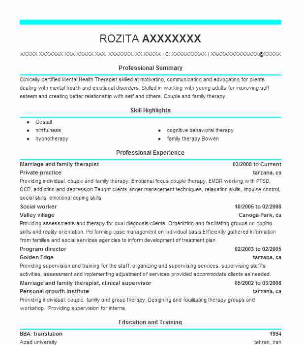 marriage and family therapist resume example livecareer highlights sample research Resume Marriage And Family Therapist Resume