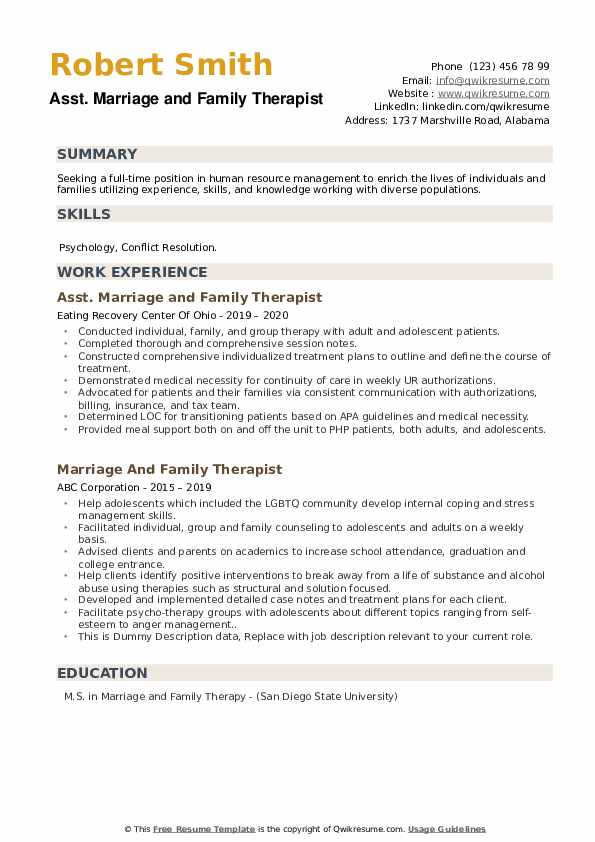 marriage and family therapist resume samples qwikresume pdf data scientist aerospace Resume Marriage And Family Therapist Resume