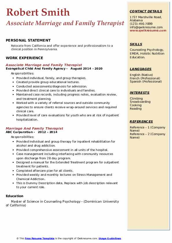 marriage and family therapist resume samples qwikresume pdf private music teacher recent Resume Marriage And Family Therapist Resume