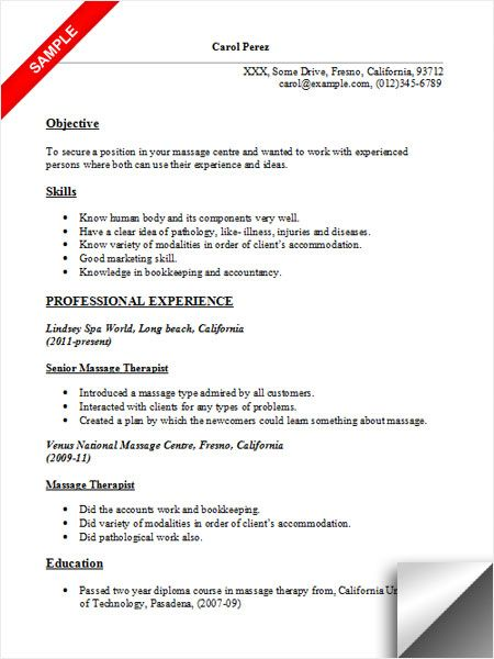 massage therapist resume sample jobs examples objective template high school for college Resume Free Massage Therapist Resume Template