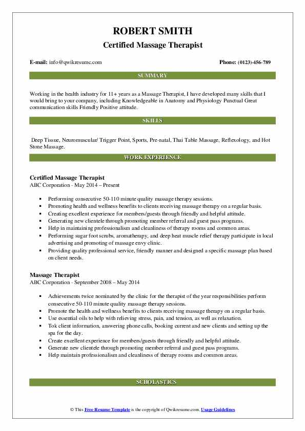 massage therapist resume samples qwikresume free template pdf veterinarian example action Resume Free Massage Therapist Resume Template