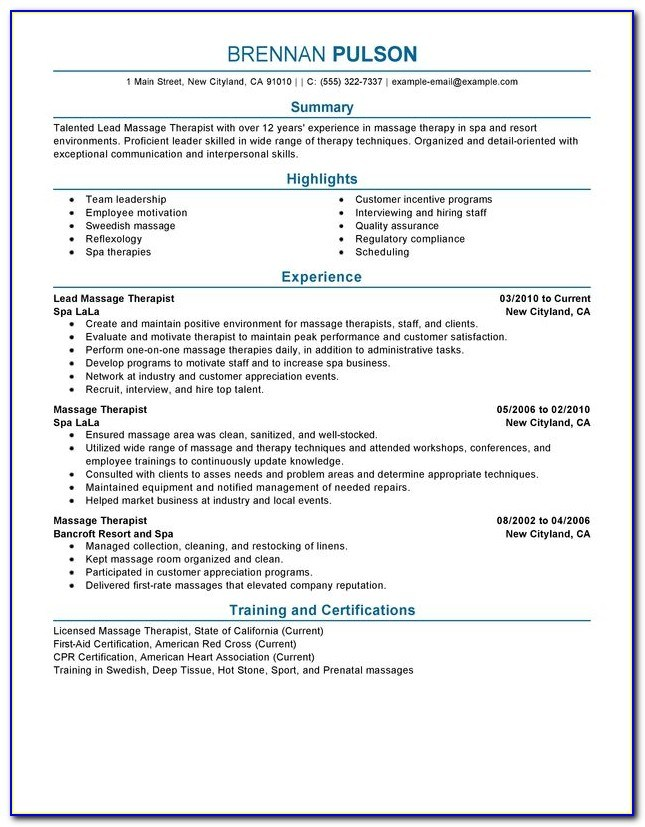 massage therapist resume template free vincegray2014 combination sample objective for Resume Free Massage Therapist Resume Template
