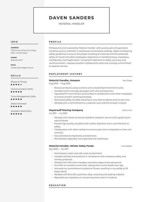 material handler resume examples writing tips free guide warehouse reddit headshot Resume Warehouse Material Handler Resume