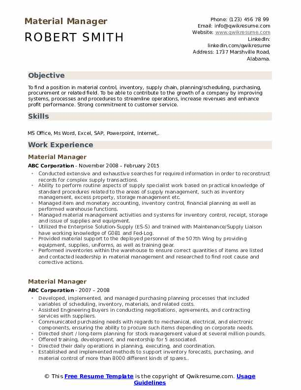 material manager resume samples qwikresume materials pdf custodian construction office Resume Materials Manager Resume