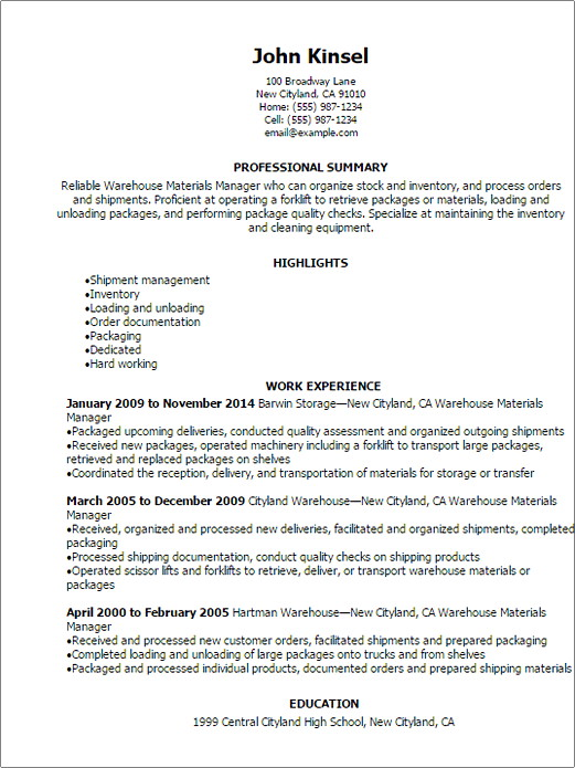 materials manager resume sample warehouse field service technician description surgical Resume Materials Manager Resume