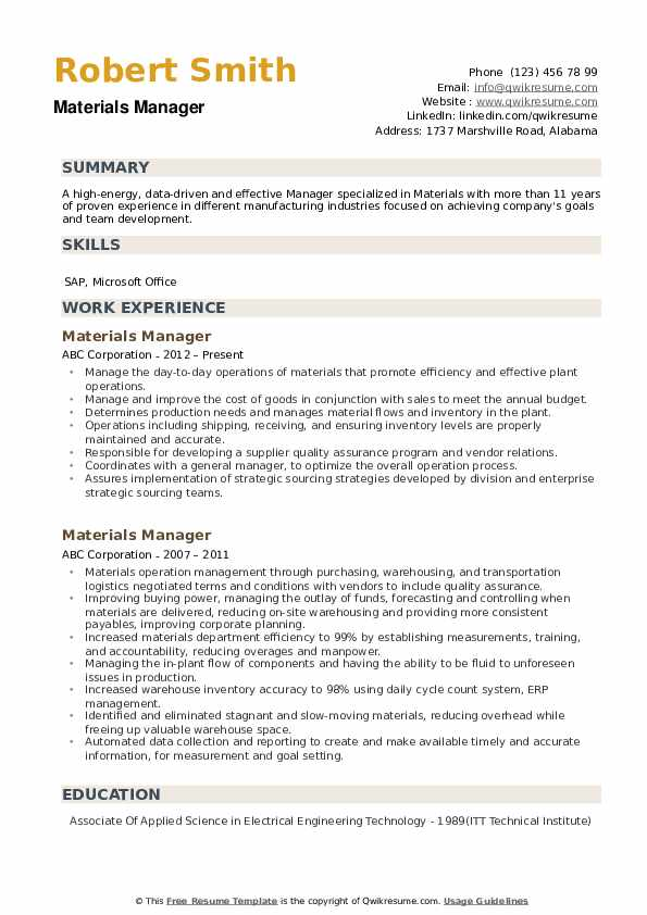 materials manager resume samples qwikresume pdf custodian health care skills for Resume Materials Manager Resume