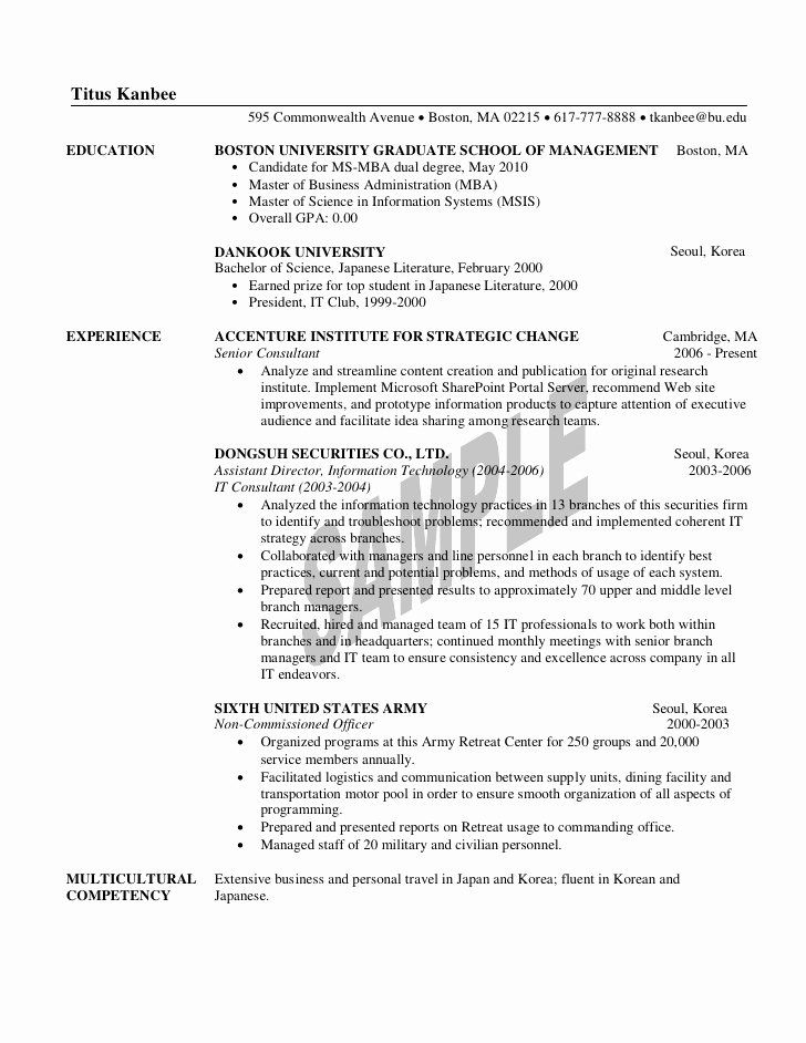 mba application resume examples fresh 1st year sample for graduate school student Resume Mba Admission Resume Examples