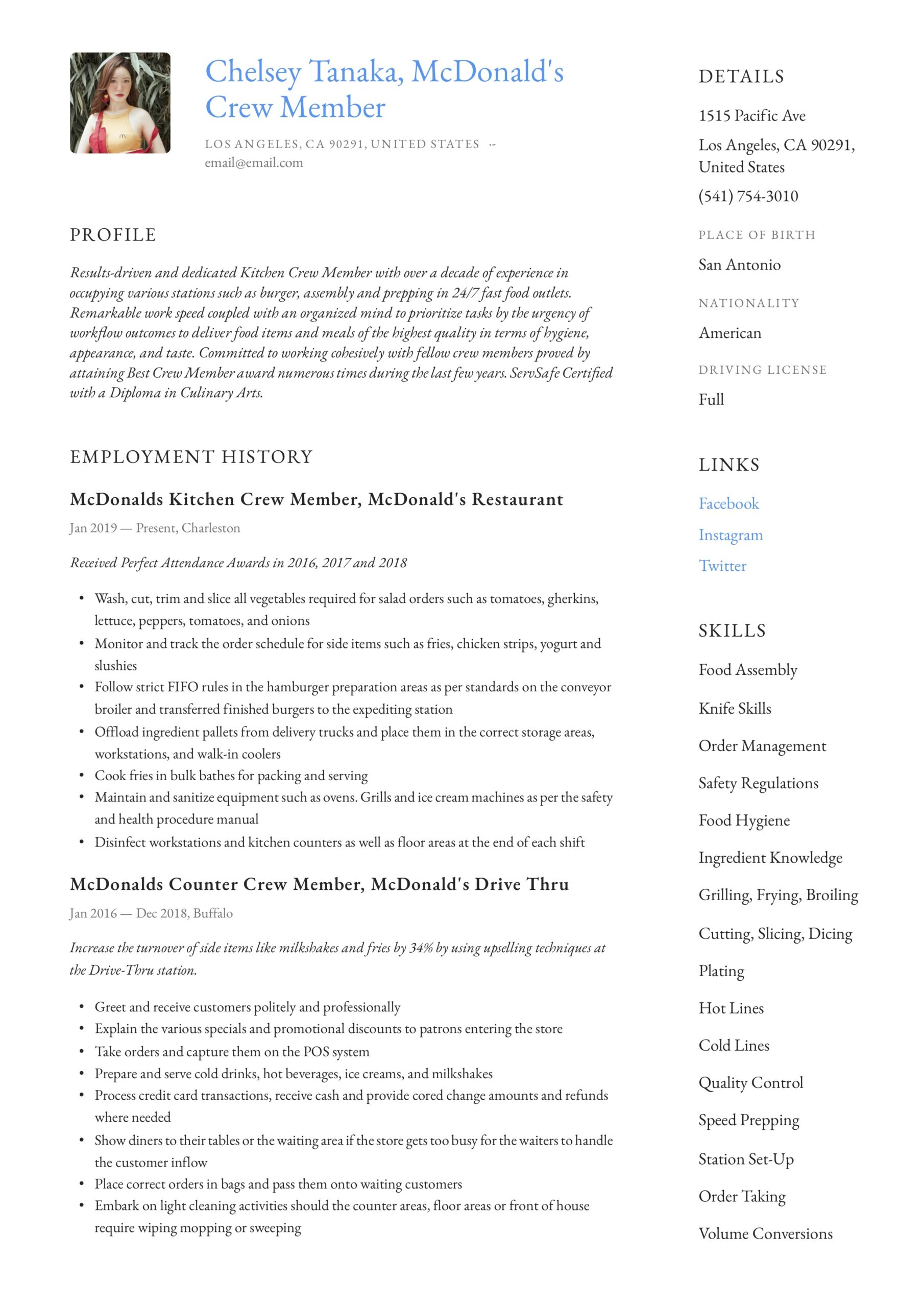 mcdonalds crew member resume writing guide examples canva for fresher payday loan manual Resume Mcdonalds Crew Member Resume