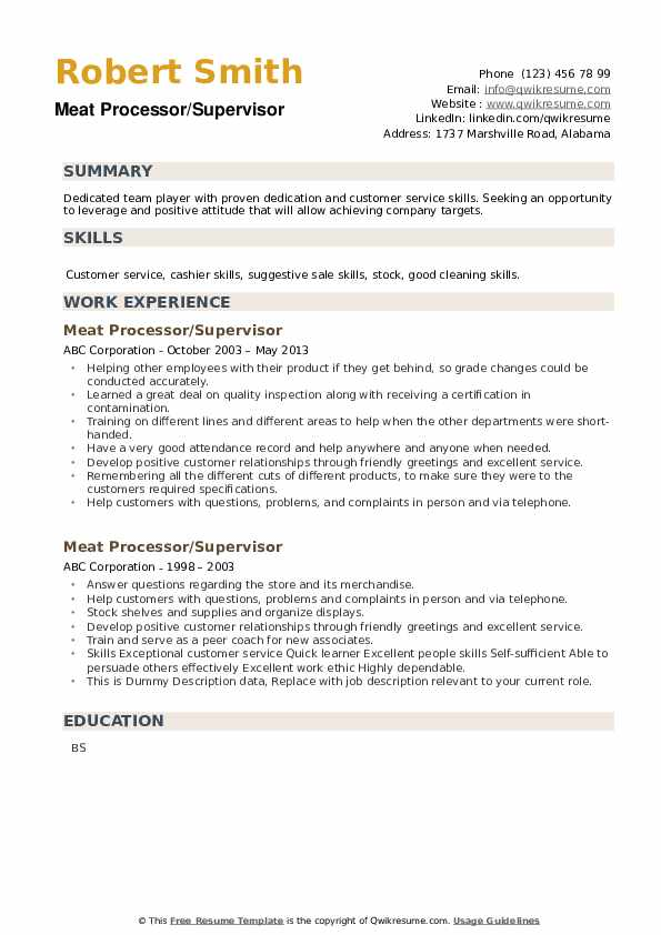 meat processor resume samples qwikresume process worker pdf software tester photography Resume Meat Process Worker Resume