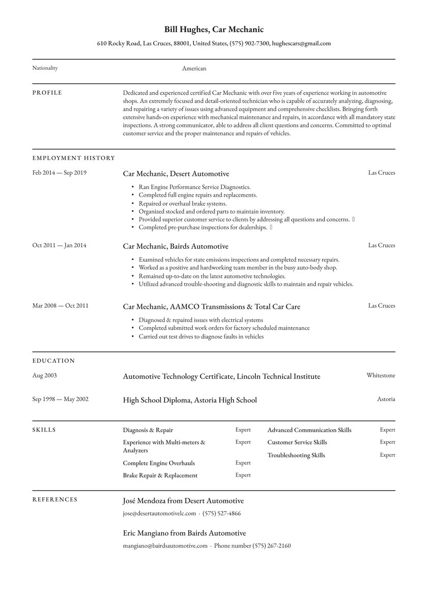 mechanic resume examples writing tips free guide io organized synonym template college Resume Organized Synonym Resume