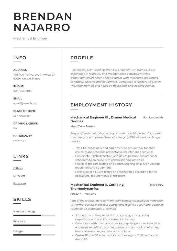 mechanical engineer resume writing guide templates pdf best for engineers standard font Resume Best Resume Templates For Engineers