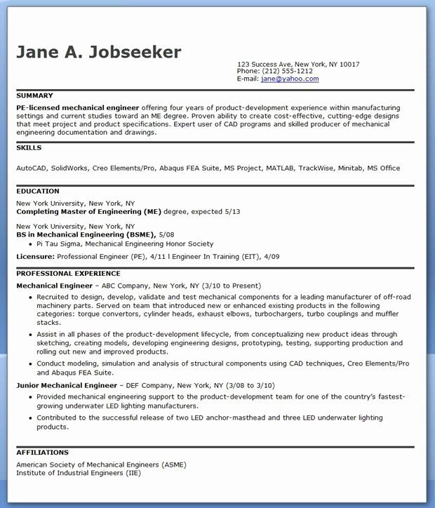 mechanical engineering resume example inspirational best engineer templates format for Resume Best Resume Format For Experienced Engineers