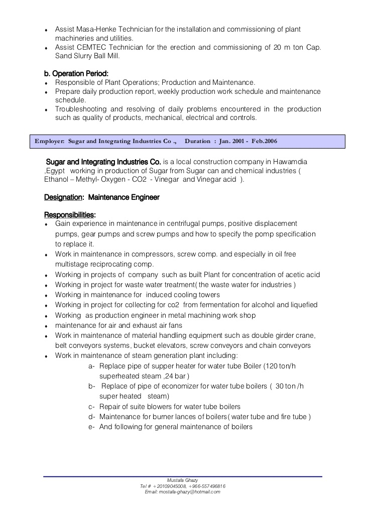 mechanical maintenance engineer resume oil and gas february plant cv objective for Resume Plant Maintenance Engineer Resume