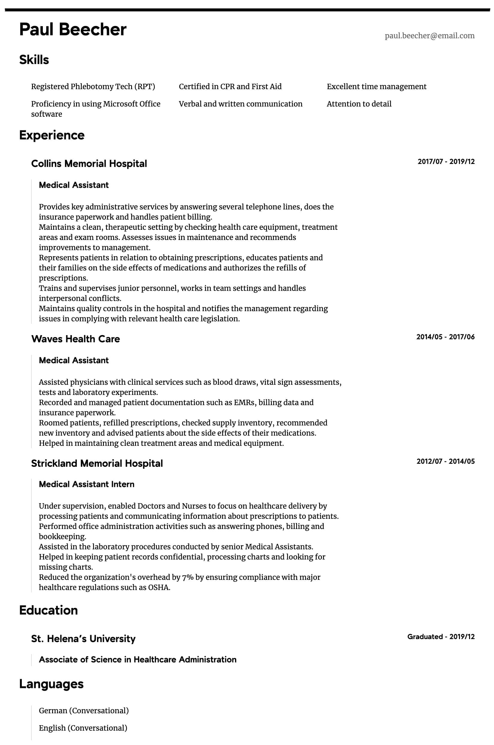 medical assistant resume samples all experience levels template intermediate experienced Resume Medical Assistant Resume Template