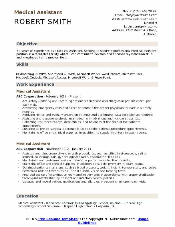 medical assistant resume samples qwikresume template pdf format for lab technician Resume Medical Assistant Resume Template