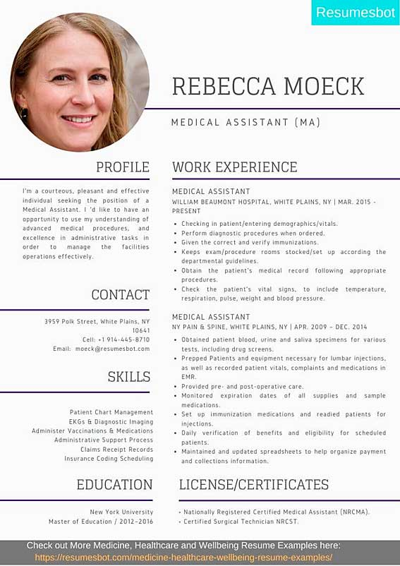 medical assistant resume samples templates pdf ma resumes bot template example tableau Resume Medical Assistant Resume Template