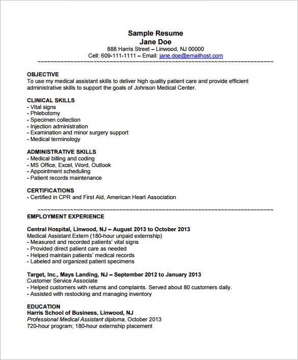 medical assistant resume templates pdf free premium patient care example with externship Resume Patient Care Assistant Resume