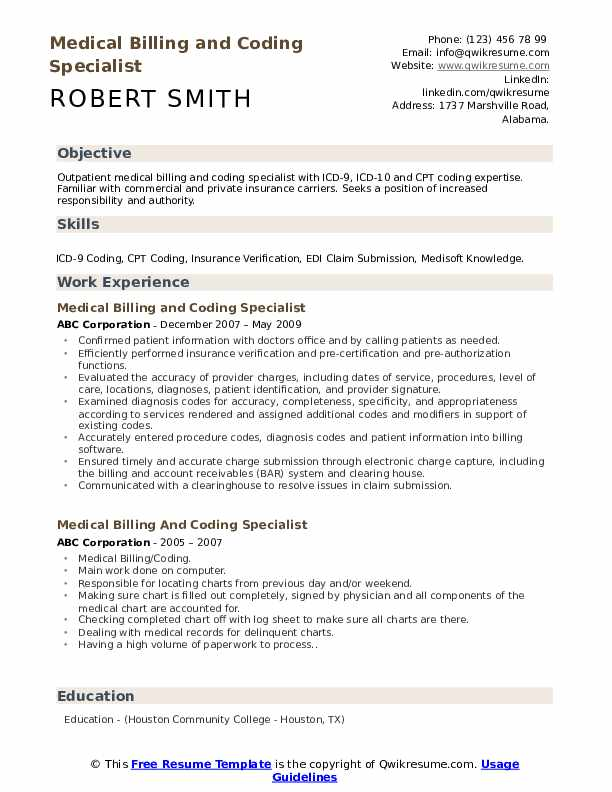 medical billing and coding specialist resume samples qwikresume sample for pdf effective Resume Sample Resume For Medical Billing And Coding