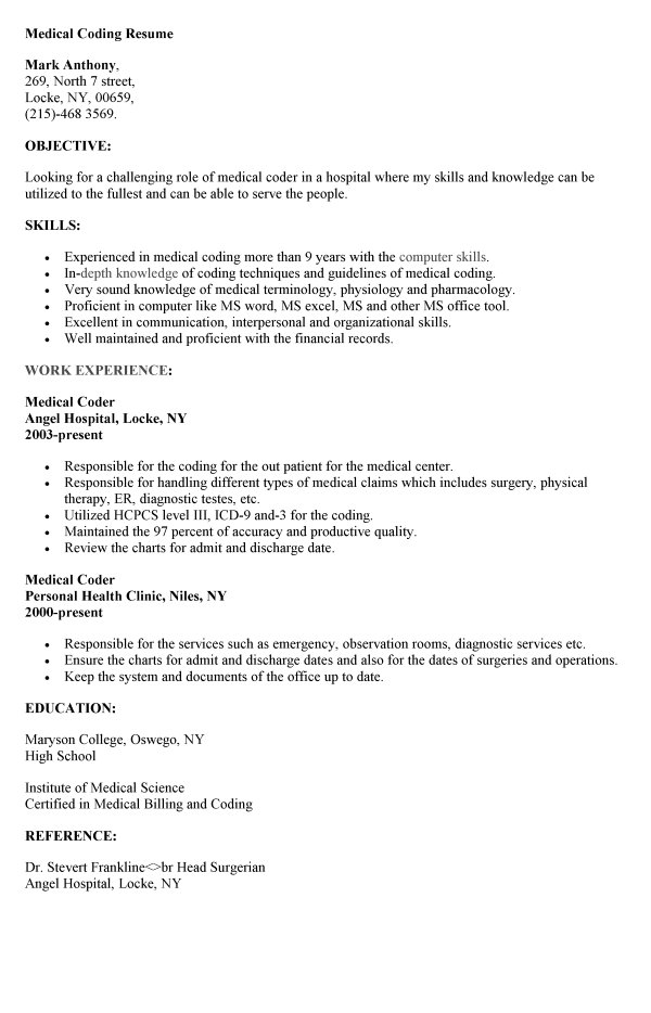 medical coder resume sample coding entry level billing and interior design examples Resume Entry Level Medical Billing And Coding Resume Sample