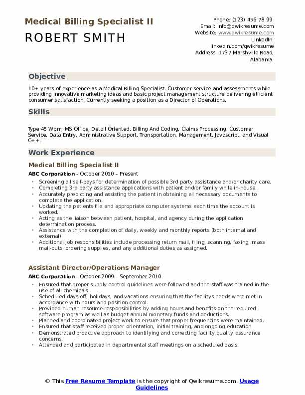 medical billing specialist resume samples qwikresume sample for and coding pdf enterprise Resume Sample Resume For Medical Billing And Coding