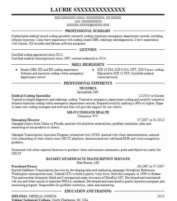 medical coding specialist resume example livecareer examples city school application Resume Medical Coding Resume Examples