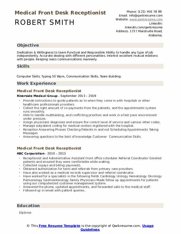 medical front desk receptionist resume samples qwikresume job pdf free column template Resume Front Desk Job Resume