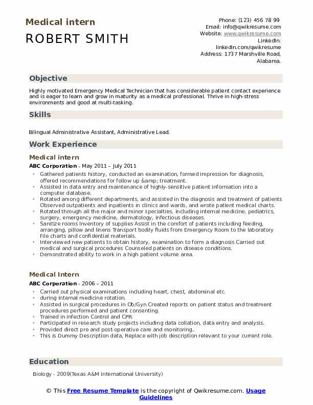 medical intern resume samples qwikresume school template pdf summary examples for Resume Medical School Resume Template