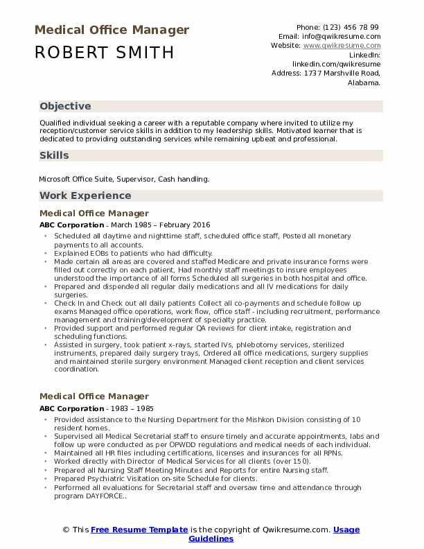 medical office manager resume samples qwikresume template pdf difference between headline Resume Office Manager Resume Template
